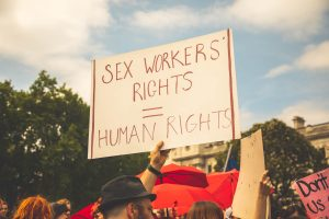 Sign reading 'sex workers rights = human rights'